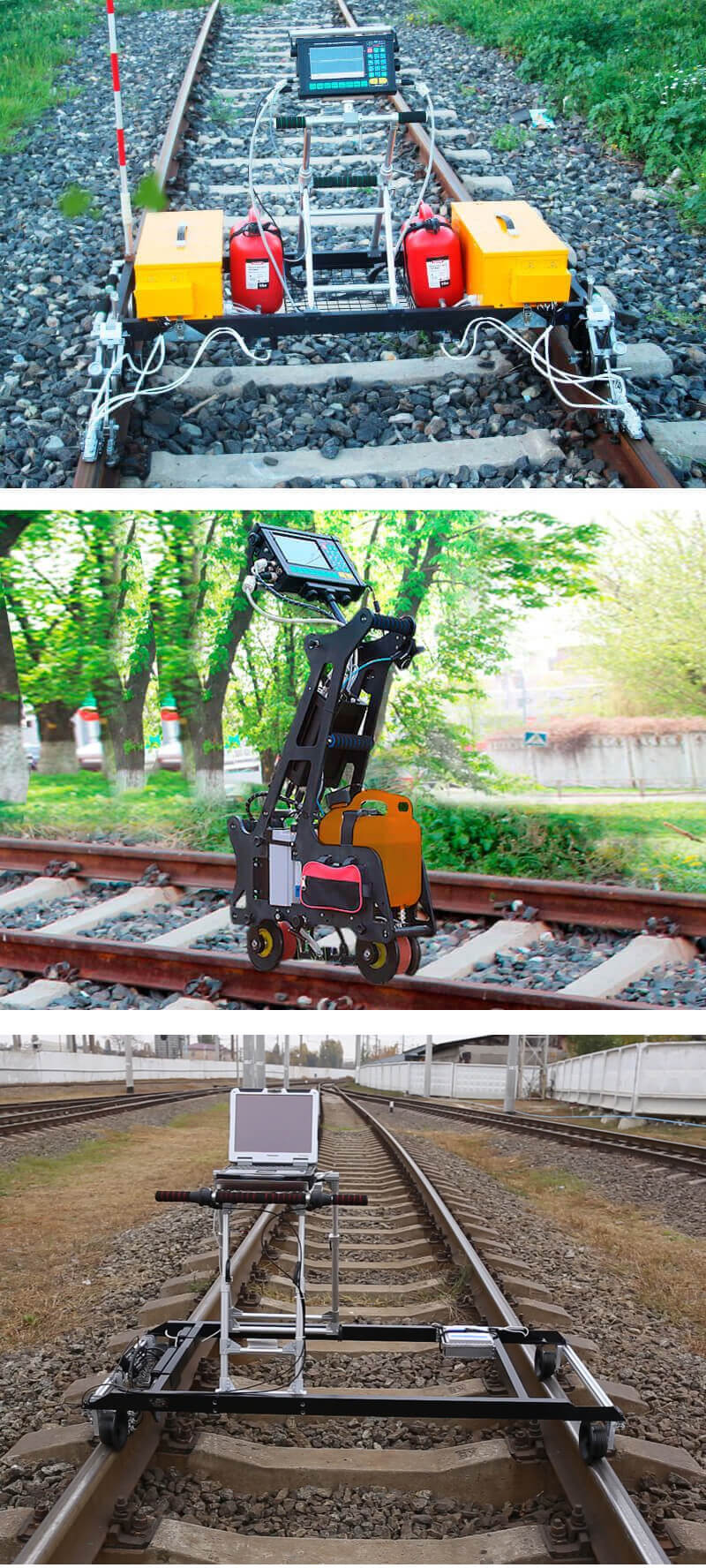 Mechanized rail testing by means of removable trolleys UDS2-73 and UDS2-77